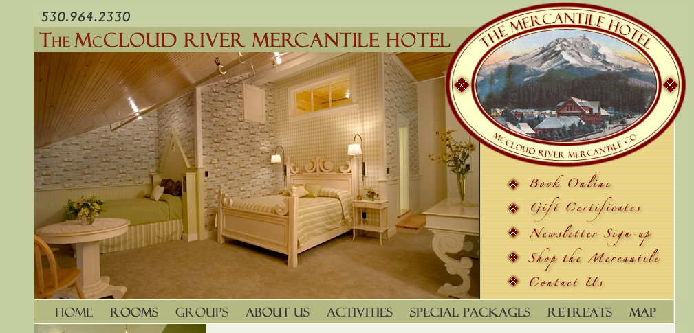 McCloud River Mercantile Hotel in McCloud, California. A quaint town in the mountains of Northern California.