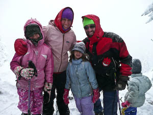 Here we are, braving the elements at Crater Lake while snowshoeing at Crater Lake