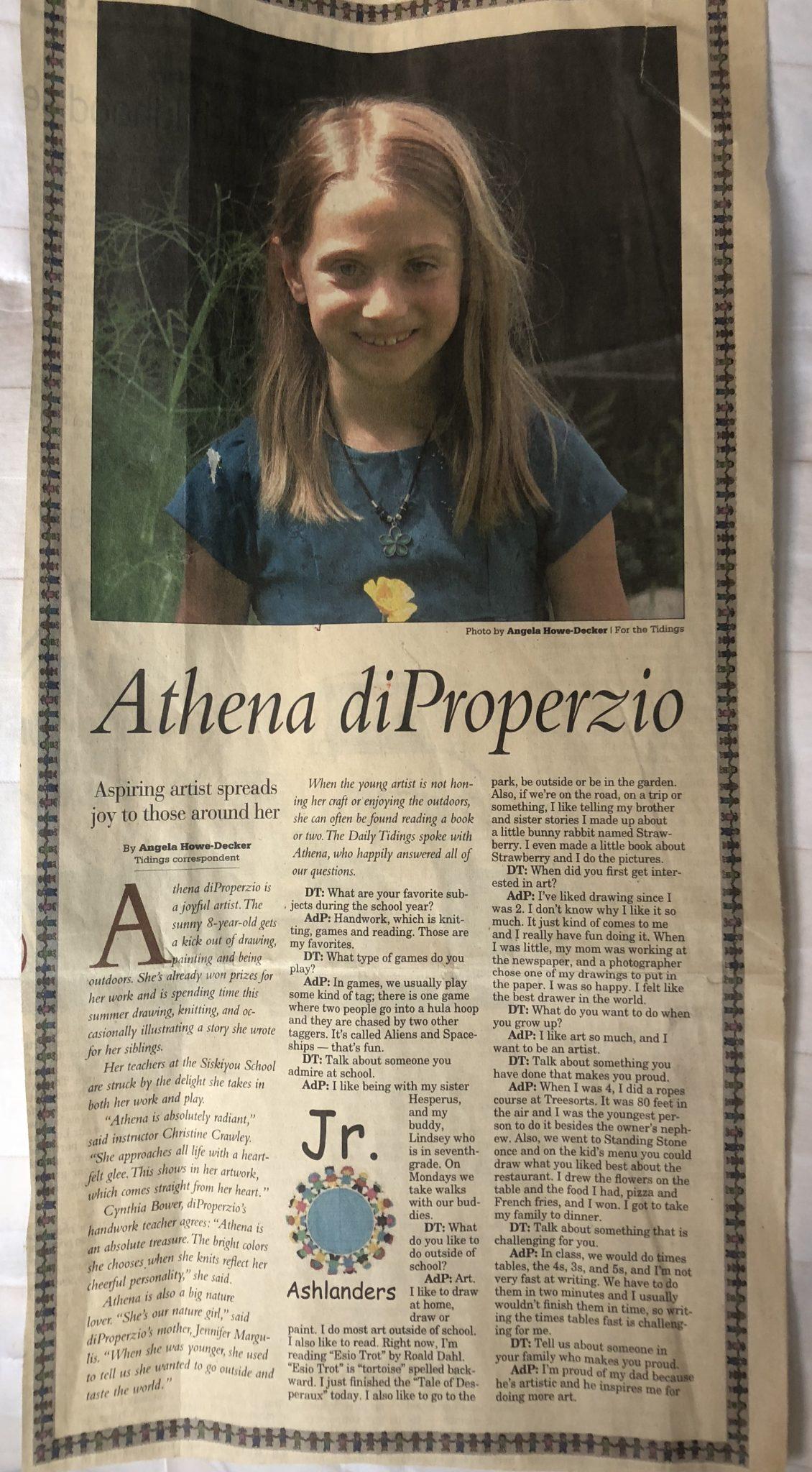 Athena di Properzio, age 8, featured in the Ashland Daily Tidings