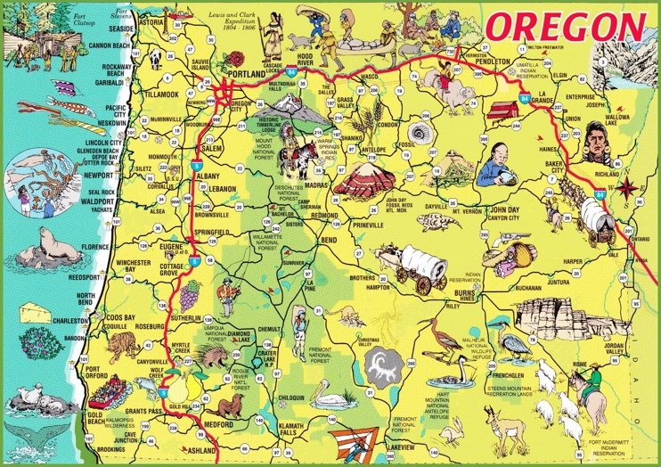 Pictorial map of Oregon