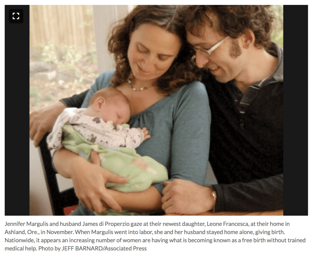 Across the United States, women giving birth without midwives or doctors present is becoming more common. Photo of parents holding a newborn, who was born unassisted, by Jeff Barnard.