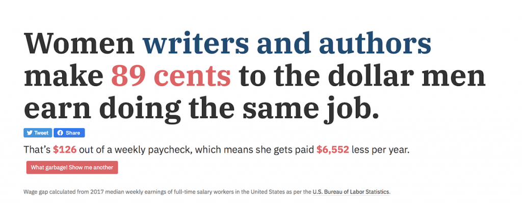 Unequal pay for women writers isn't just unfair, it's illegal. But women earn 89 cents for every dollar male writers make. Screen shot from NarrowTheGap.co. | Jennifer Margulis, Ph.D.