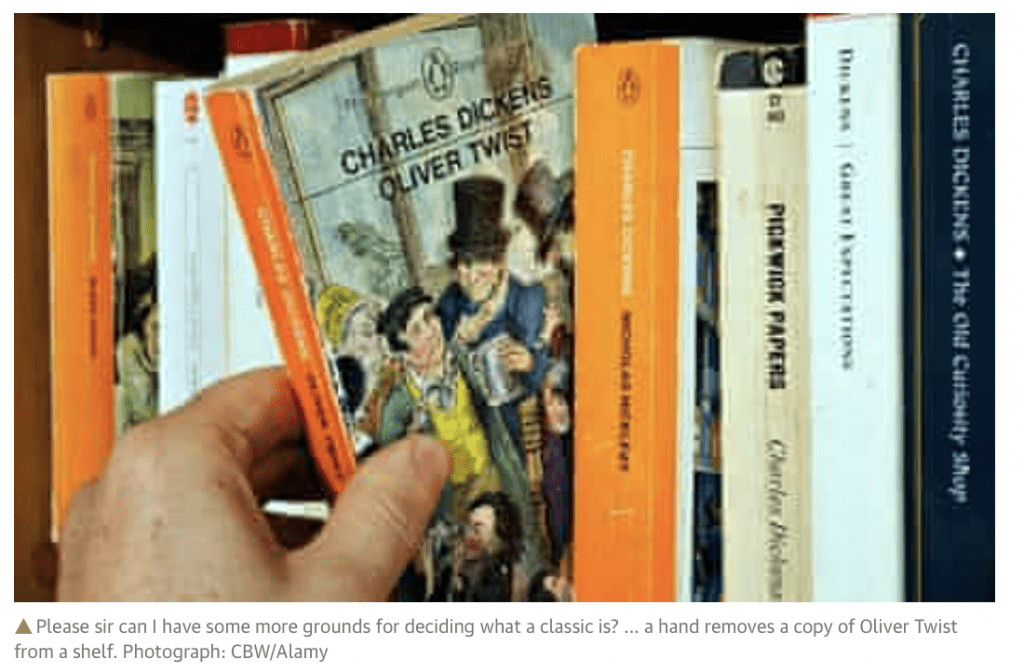 Reading a thick novel by Charles Dickens is a good way to spend a cold winter night. Photo of a bunch of Dickens novels on a shelf via The Guardian. | Jennifer Margulis
