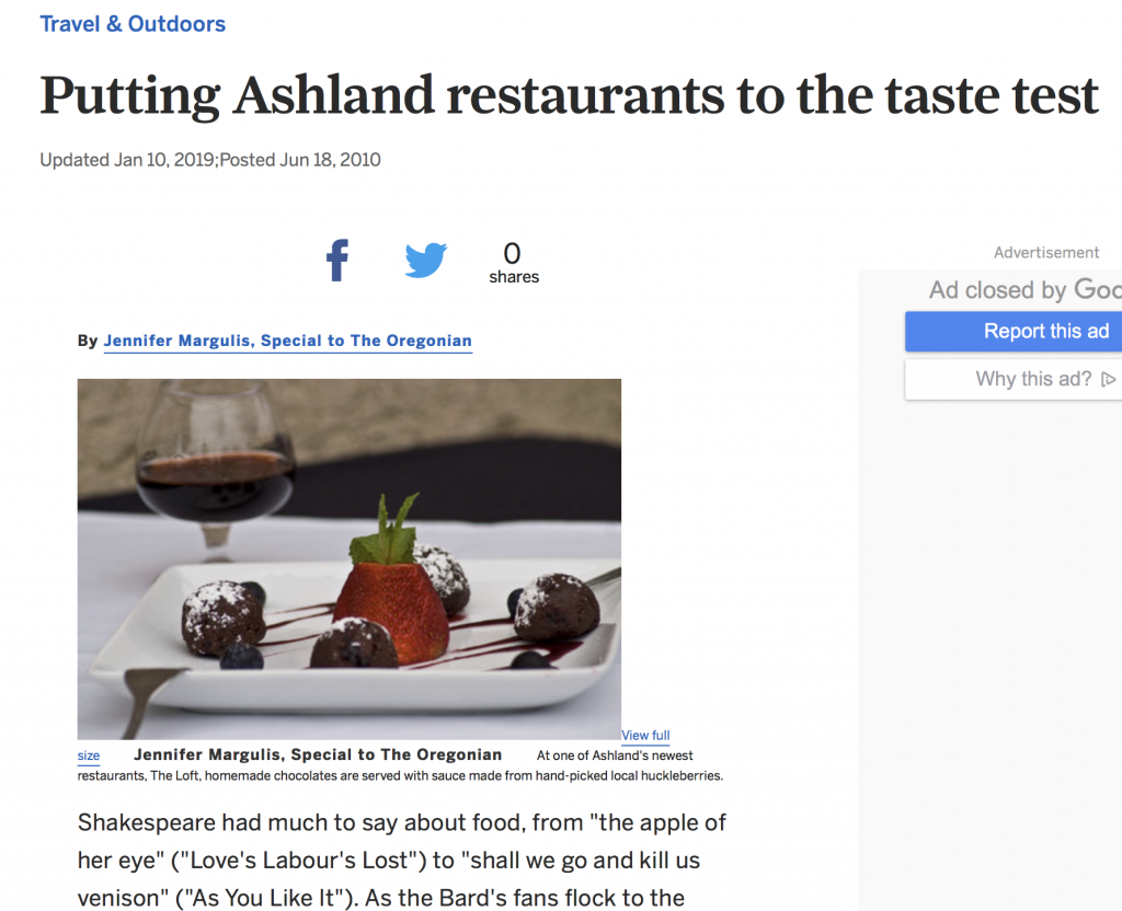What's Shakespeare Having for Dinner? A 2010 article about Ashland restaurants.