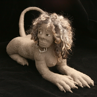 One of Frugal Kiwi's amazing creations, a felted Sphinx | Jennifer Margulis