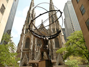 You may think this is a photograph of Atlas holding up the world with Saint Patrick's Cathedral (the seat of the Catholic church) in the background but it's actually pornography. What other scantily clad man is a naked woman allowed to admire? What do you think of those biceps?