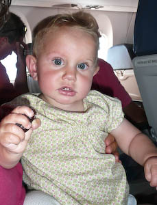 A 9-month-old on her way to BlogHer 2010.