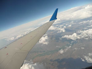 view from the plane on the way to BlogHer 2020