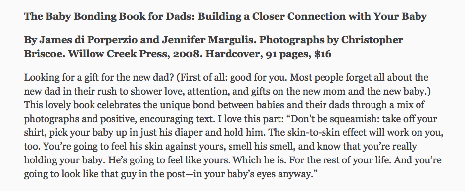 Ann Douglas reviews The Baby Bonding Book For Dads