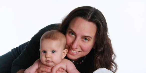 Jennifer Margulis and her infant daughter. Babies are a good reason to smile. A discussion of Marianne LaFrance's book on smiling. Photo credit: Christopher Briscoe.