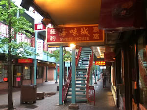The main walkways in Chicago's Chinatown have covered sidewalks