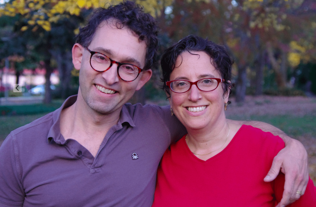 The author and her husband. He thinks she's crazy for trying to eliminate packaging and reduce the plastic in their lives. Via Jennifer Margulis, Ph.D.