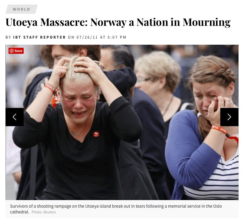 Screenshot from the IBT of Norwegians mourning after the devastating shooting that left 76 people dead in 2011