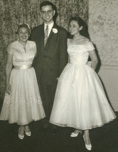 My mom (right) and her mom with Carl Sagan at their wedding. She was 19 years old. Photo courtesy of Lynn Margulis Estate.