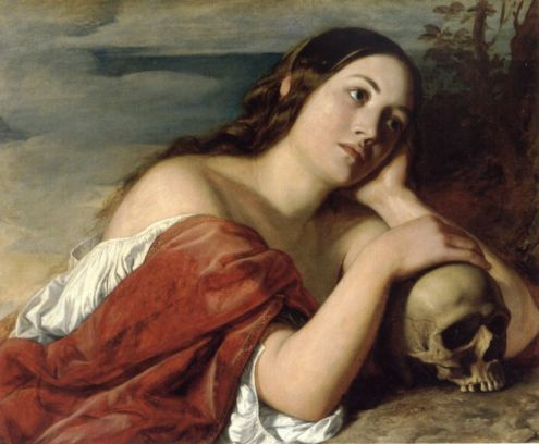 Painting by William Dyce of a woman with her hand on a skull