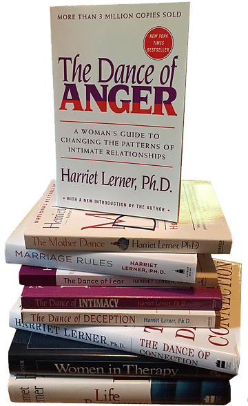 Marriage is hard. A book by Harriet Lerner, Ph.D., called Marriage Rules, makes it just a little easier. Photo of a stack of Dr. Lerner's books via Jennifer Margulis, Ph.D.