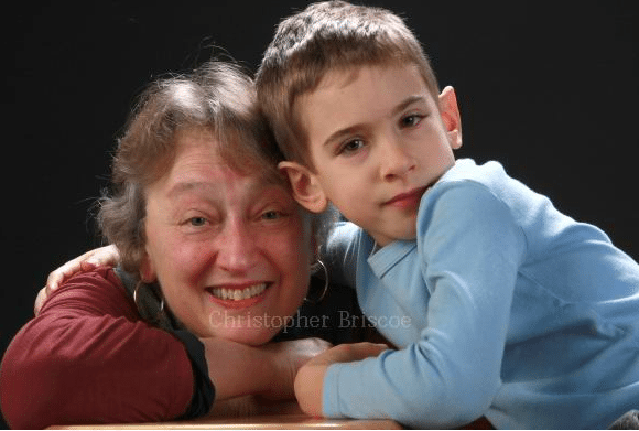 Evolutionary biologist Lynn Margulis with her grandson. Photo credit: Christopher Briscoe