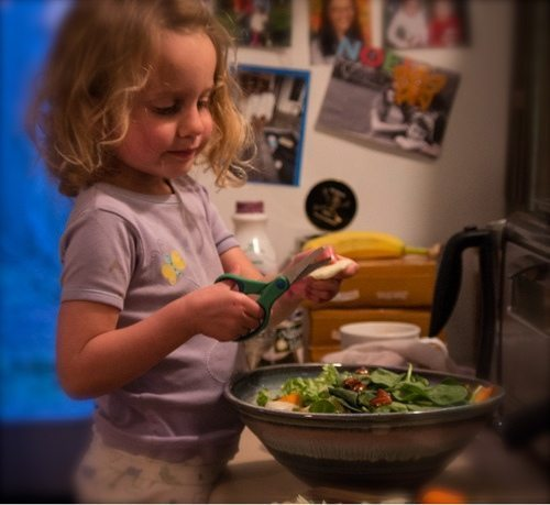 A toddler can use culinary shears to help make dinner salad. Culinary shears are a fancy way to say blunt scissors. Learn more at JenniferMargulis.net