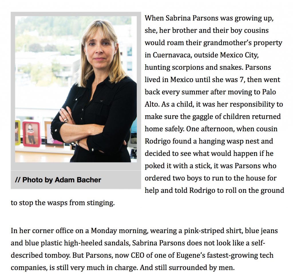 I've been busy reading and writing. I have an article in OBM about Sabrina Parsons, CEO of the $10 million company, Palo Alto Software | Jennifer Margulis