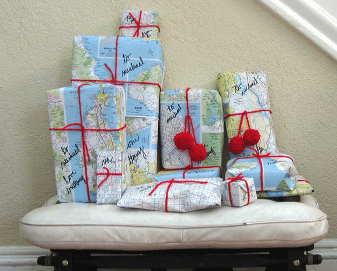 Photo by Brittany Powell from http://www.brittanypowell.com/home/last-minute-holiday-map-wrapped-gifts/