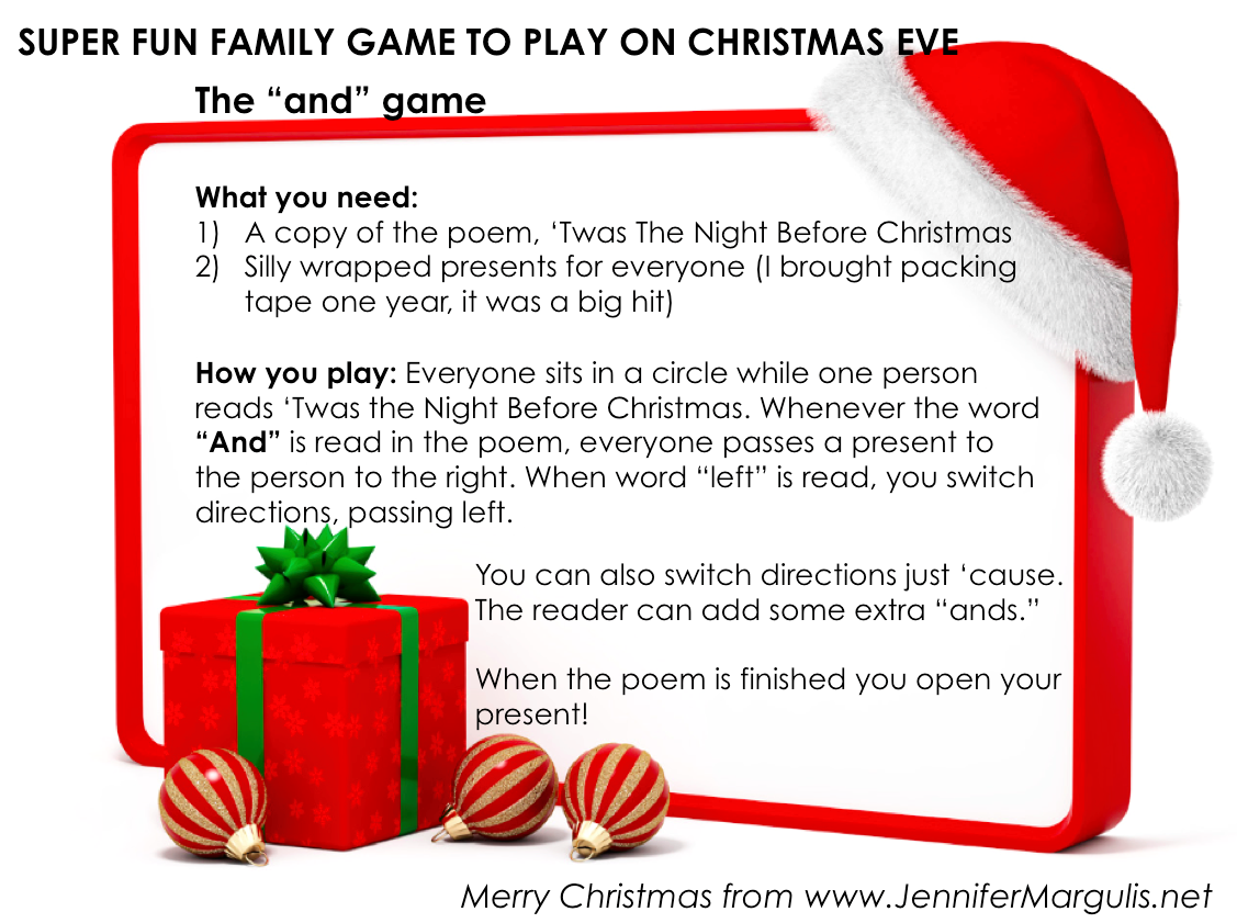 "A super fun game to play the night before Christmas. It's called ""The And Game"" for Christmas Eve. Facebook memes made by Jennifer Margulis."