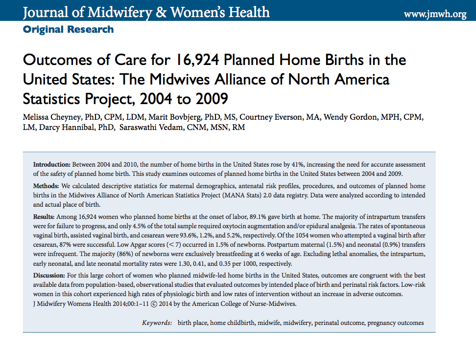 Breaking news: the largest study of home birth in the United States to date, of nearly 17,000 low-risk women, finds that home birth is a safer option than hospital birth. Women had much lower rates of C-sections and much higher rates of successful breastfeeding