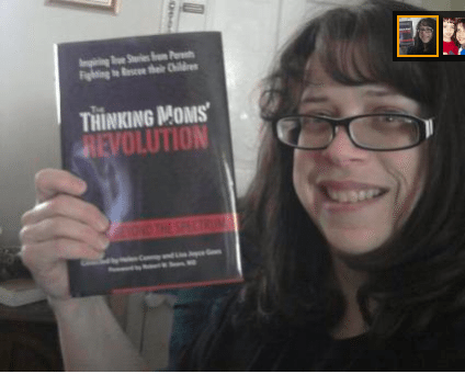 Melanie holds up her book, The Thinking Moms' Revolution. She died of cancer. I hate cancer. | Jennifer Margulis, Ph.D.