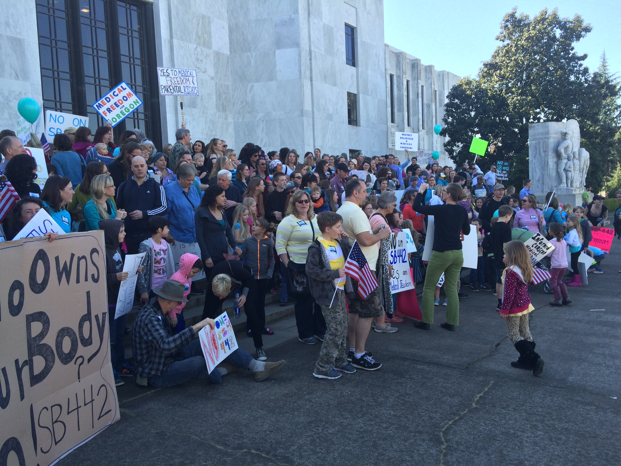 Over 300 people attended the rally for medical freedom on March 9, 2015 in Salem, Oregon