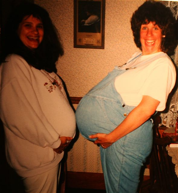 Two awesomely happy pregnant ladies. Who says it's not fun to be as big as a brick house.?! Photo courtesy of Karen Driscoll.