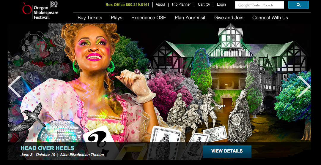 Screenshot of the official website of the Oregon Shakespeare Festival