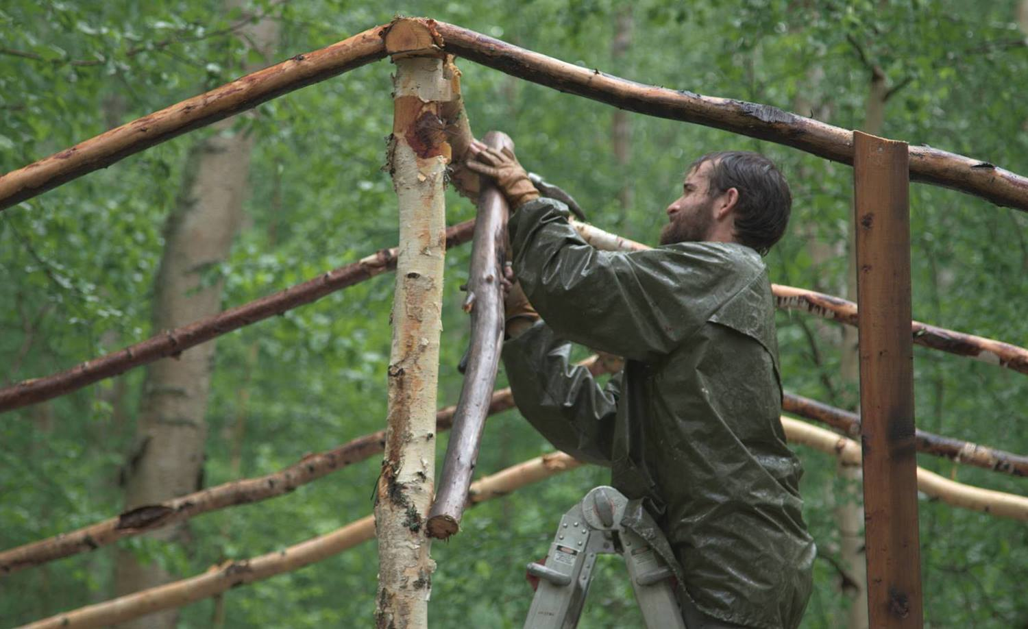 Peter Bird, Audrey's husband, building a birch-tree platform for their outdoor birth. Photo courtesy of Audrey Bird.