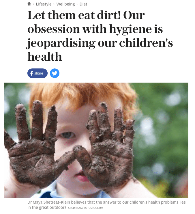 A new book about children's health says kids need to get down and dirty more