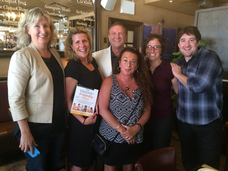 Jennifer Margulis, Ph.D., with her co-author Dr. Paul Thomas, M.D., as well as (from left to right) Stephanie Tade, Marnie Cochrane, Maiya Thomas, and Michael Cook. Marnie is showing off the galley of Paul and Jennifer's forthcoming book