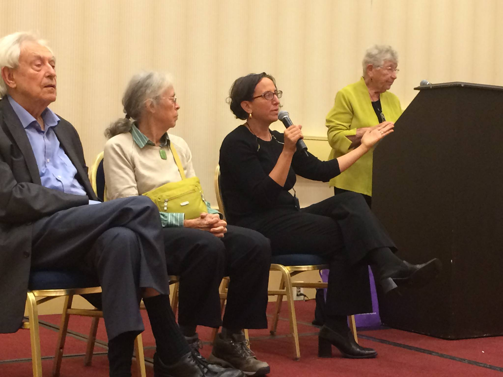 Michel Odent, Ina May Gaskin, and Jennifer Margulis speaking at BirthWorks International