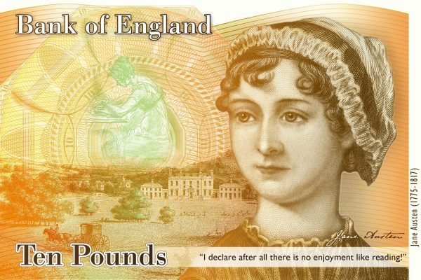 Jane Austen ten pound bank note. 15 fabulous gifts for writers