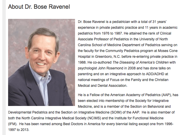 Bose Ravenel believes that vaccines are triggering autism in susceptible children