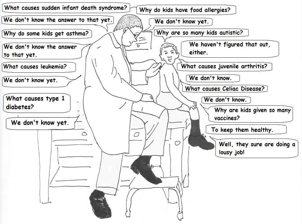 What is making America's children sick? A cartoon of a child asking a doctor why kids are so sick and the doctor saying we don't know | Jennifer Margulis, Ph.D.