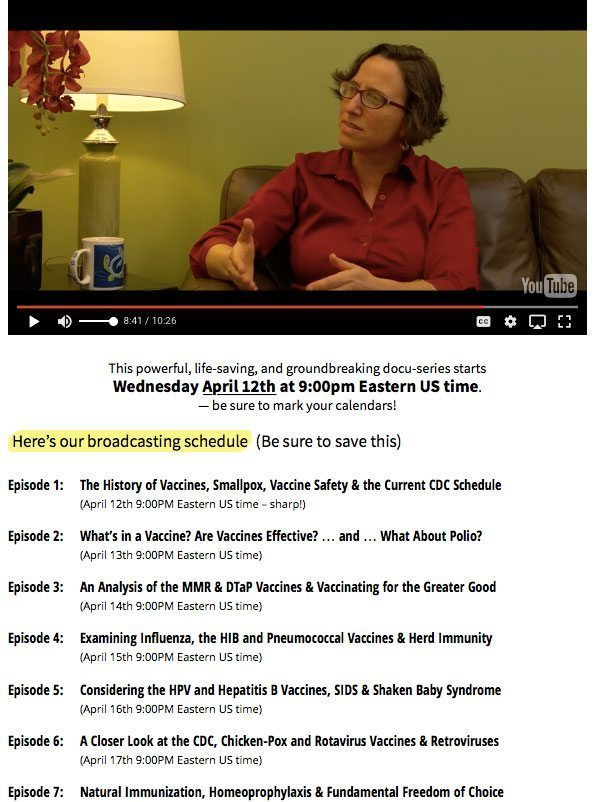 Broadcasting schedule for the Truth About Vaccines, which you can watch for FREE on April 12