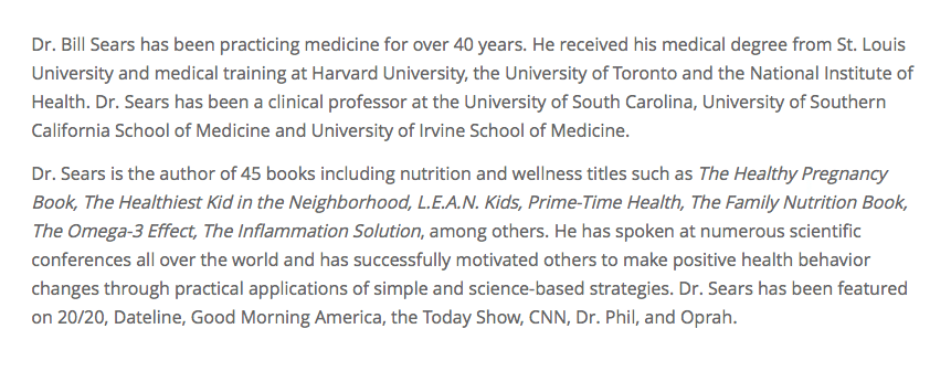 Biography of Dr. William Sears, M.D.