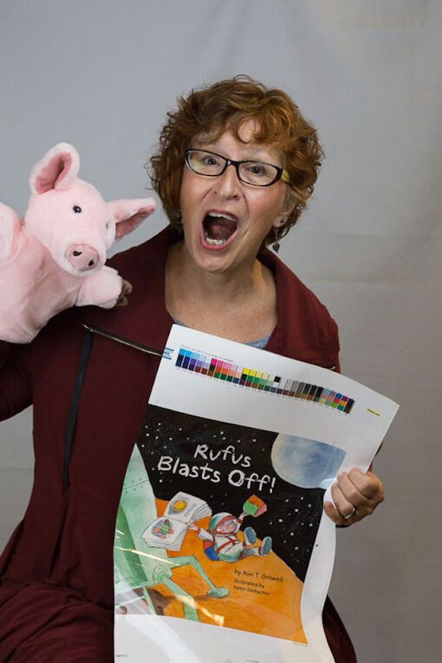 Rufus Blasts Off! A new book by Kim T Griswell. Author photo by Judy Cox