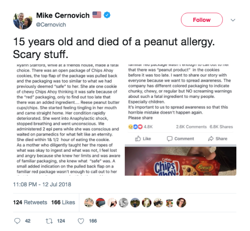 Mike Cernovich wrote about the 15-year-old girl who died from a peanut allergy in order to help raise awareness about anaphylactic shock from food allergies