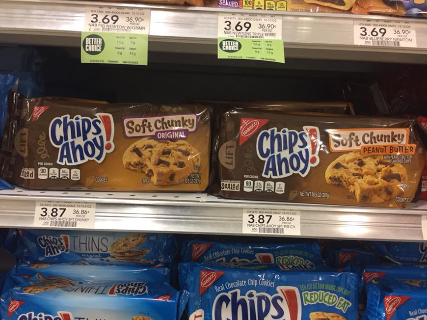 Chips Ahoy cookies that contain peanuts are not very different from cookies that do not contain peanuts. This is very dangerous for anyone with a peanut allergy. A 15-year-old girl DIED after eating a cookie she did not know contained peanuts.