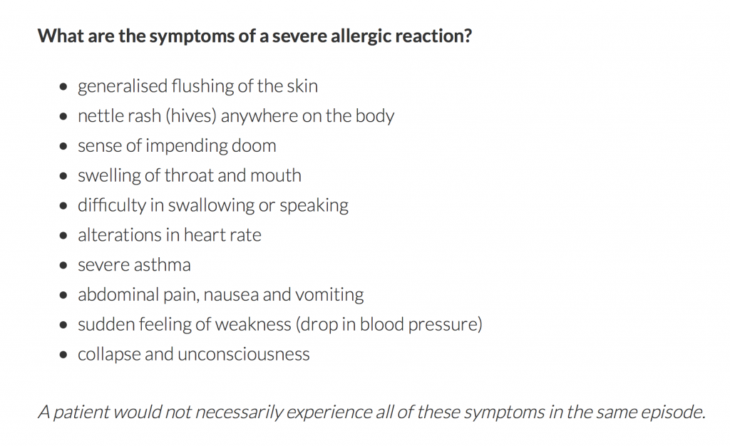 Symptoms of a severe peanut allergy may include difficulty breathing, throat tightening, vomiting, nausea, trouble speaking, dizziness, fainting, and more. (Screenshot via UK's Anaphylaxis Campaign)