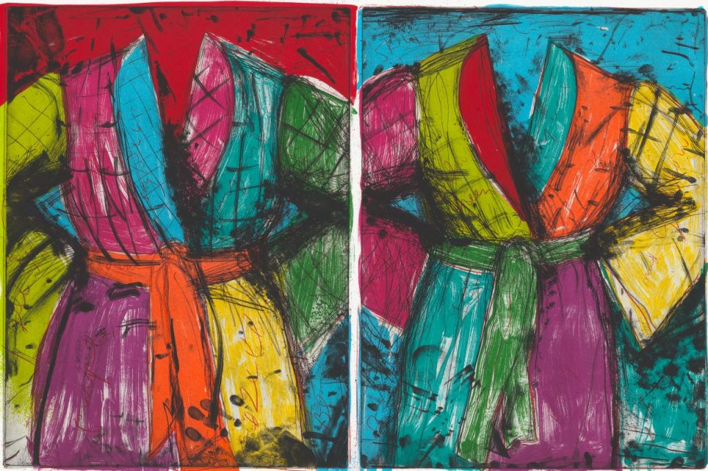 My husband's terrycloth robe, that I was sewing up inside out as I was in labor at night, looked a lot like these lithographs by Jim Dine. Two Florida bathrobes, 1986. Photo via NGV
