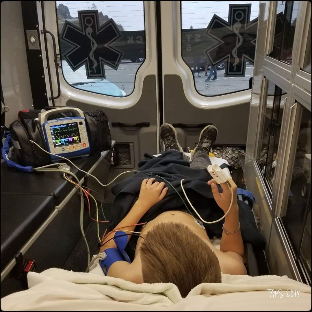 Another ambulance ride for Andante when he had a severe allergic reaction to a bee sting. He is so allergic to airborne allergens that he could have a fatal reaction.
