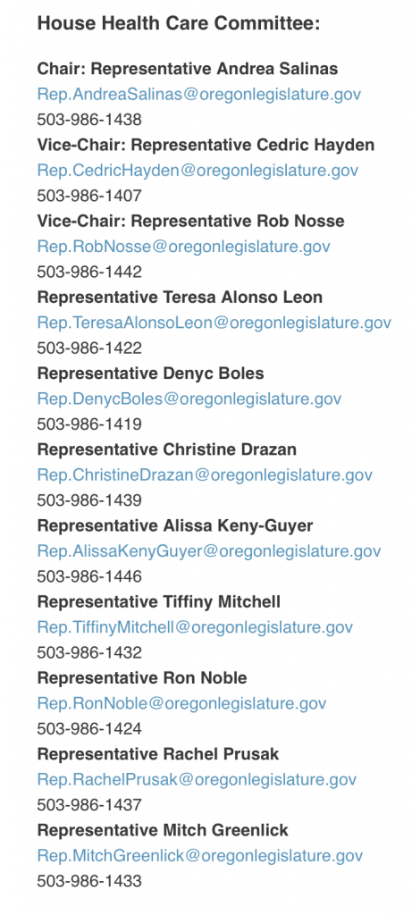 List of the current members of the House Committee on Health Care in Oregon