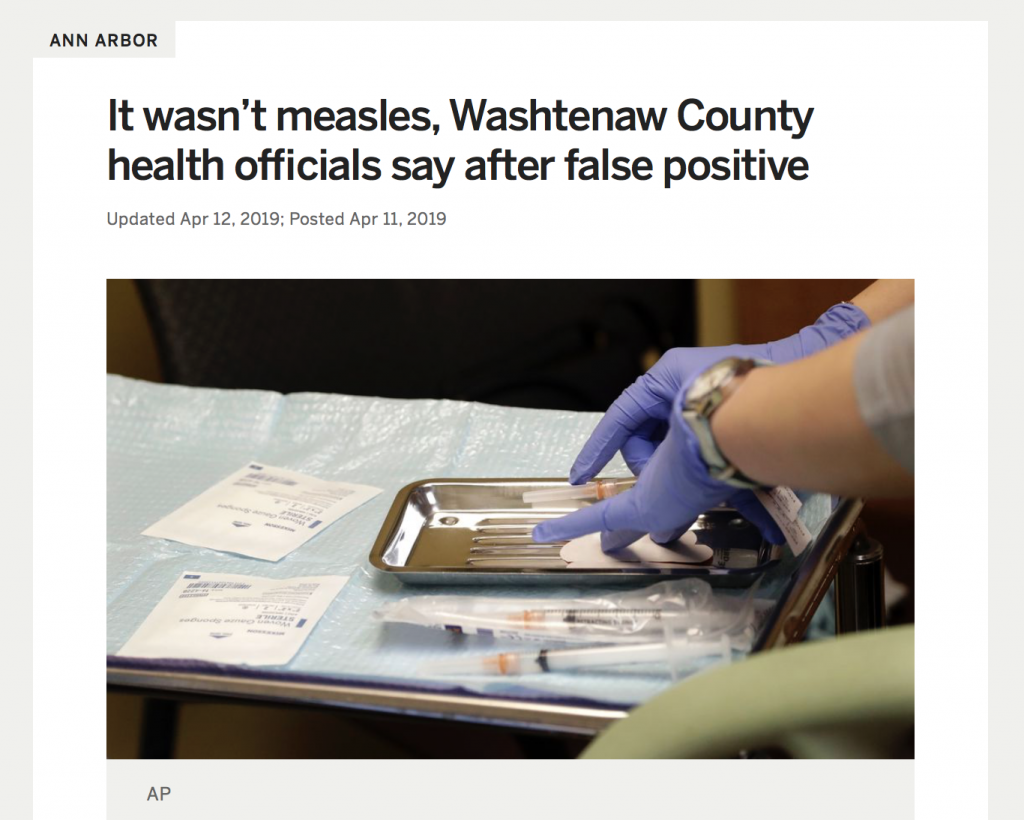 Washtenaw County's first reported case of measles turned out to be measles vaccine failure. According to Michigan health officials, it was a false positive caused by the MMR vaccine. Screenshot via MLive.