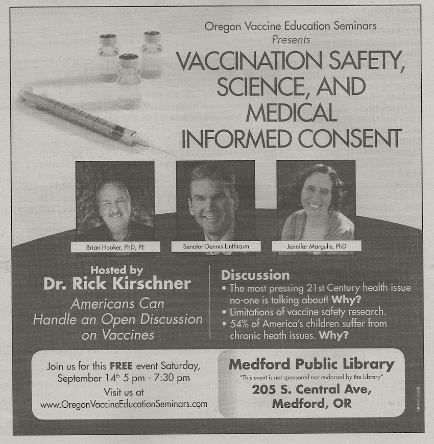 Dr. Brian Hooker will be speaking at the Medford Public Library
