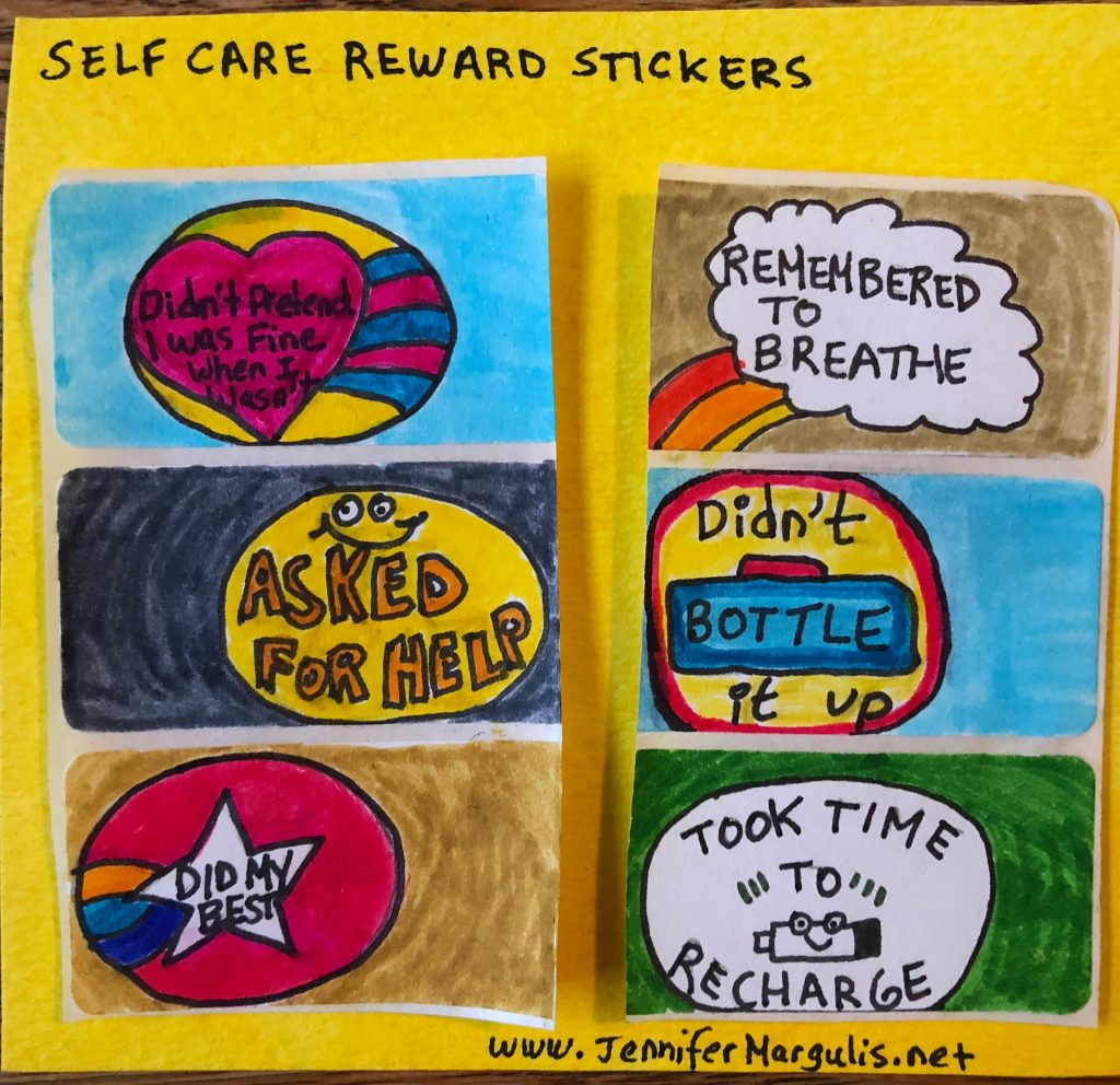 Self-care reward stickers that I made. Here are 43 things I know now that I'm 43 years old! | Jennifer Margulis