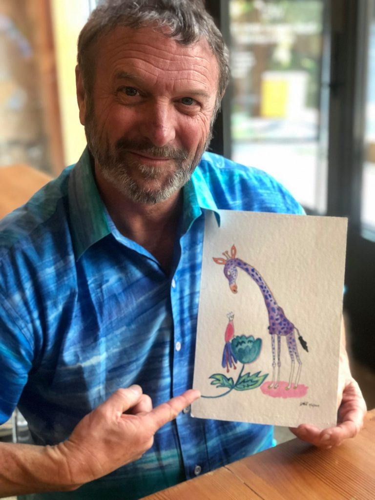 I gave this painting of a purple giraffe to my co-author Dr. Paul Thomas's wife, Maiya, as part of the 50 gifts I have been giving away for my 50th birthday | Jennifer Margulis